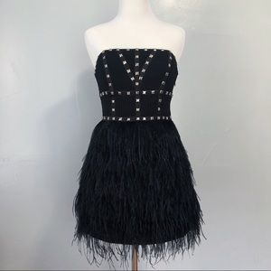 Bebe Studded Bustier Feathered Mini Dress